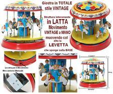 GIOSTRA con CAVALLI TOTALMENTE in LATTA STILE VINTAGE con ROTAZIONE LEVA a MANO