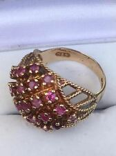 "Contemporary ""Possible Garnet"" 9ct Gold Dress Ring Size (P 1/2) Ship Worldwide"