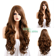 80CM Heat Resistant Long Curly Chestnut Brown Fashion Hair Wig