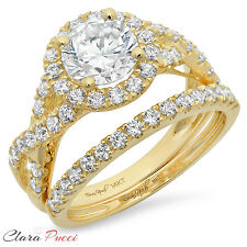 2.40 Carat Round Cut Halo Engagement Ring band set real 14k Yellow Gold Bridal