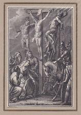 """""""Jesus zwischen Mißethätern am Kreuze"""" KSt. von Schuler bei Herder 1790"""
