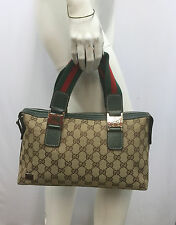 GUCCI GG LOGO CANVAS PURSE GREEN RED STRIPE GREEN RED ENAMEL BITS GREEN LEATHER