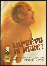 1960's Original Vintage COTY IMPREVU Perfume Fragrance Nude Woman Photo Print AD
