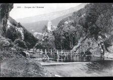 GORGES de L'AREUSE (SUISSE) PONT en bois sur l'AREUSE début 1900