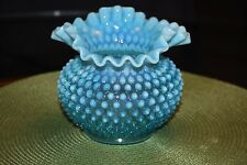 1950's Fenton Blue Hobnail Opalescent Glass Vase Double Crimped Rim