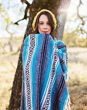 #11 Turquoise Mexican Falsa Blanket Beach Picnic Yoga Afghan Throw Cover Mat New