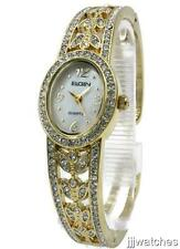 New Elgin Women Gold Tone Crystallized Mother Of Pearl Bangle Watch 20mm EG8081