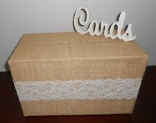 Rustic Vintage Wedding Card Box Hessian Lace Engagement Wooden Wishing Well