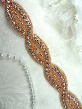 DH18 Rhinestone Banding Belt Trim Crystal Rhinestone Rose Gold Beaded .75""