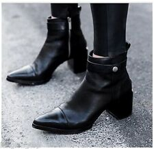 ZARA WOMAN  BLACK LEATHER ZIPPED CHELSEA PIXIE ANKLE BOOTS NEW WITH TAG
