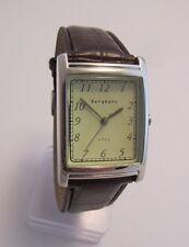 Bergmann 1922 * Rechteckig * Herren Quarz Uhr * Lederband Braun
