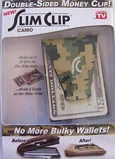 NEW- Slim Clip Dbl Sided Money Clip Wallet Front Pocket Cards Camo