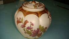 Antique England Royal Worcester Hand Painted Porcelain Flowers Disign Vase Jar