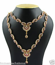 Indian 22K Gold Plated Double Necklace Rani Haar Ethnic Bollywood Necklace J009