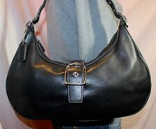 COACH Medium Black Leather Shoulder Hobo Tote Slouch Purse Bag