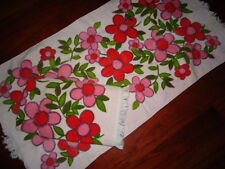VINTAGE CANNON VELOUR PINK GREEN BIG FLORAL (2PC) SMALL BATH TOWELS 21 X 39