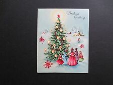 #K632- Vintage Xmas Greeting Card Victorian Carolers Surrounding Holiday Tree