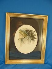 Harrison Fisher Beautiful Woman with Feather Hat 1909 signed gold frame art