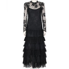 Alessandra Rich Black Long Sleeves Chantilly Lace Black Dress Gown IT40 UK8