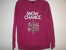 So It Is Size Large L SNOW CHANCE Red Christmas Sweatshirt New Womens Clothing