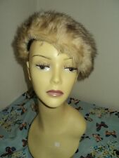 Ladies French Beret Beanie Brown/Beige faux fur hat size 55cm free postage toUk.