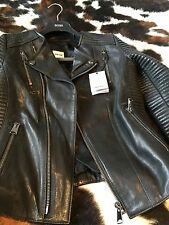 Anine Bing Motorcycle Black Leather Jacket Size M