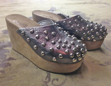 BRIDGET SHUSTER 'Groovy' Pewter Leather Studded Wedge Platform Clogs Slides 7