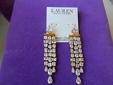LAUREN Ralph Lauren Authentic NWT Gold-Tone Glam Slam Faceted CZ Stone Earrings