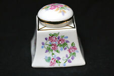 D&C Limoges France Hand Painted Porcelain Inkwell w/ Roses