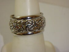 14K WHITE GOLD BYZANTINE WEDDING BAND RING NEW 3/4 WIDE SZ 6 TURKEY