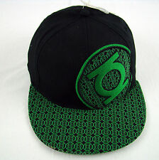 Mens NWT Official DC Comics The Green Lantern Fitted Flat Bill Black Hat Cap