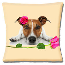"""NEW TAN WHITE JACK RUSSELL PINK ROSES LOVE VALENTINE 16"""" Pillow Cushion Cover"""