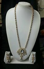 Indian bollywood costume jewellery long necklace and earrings set party wear