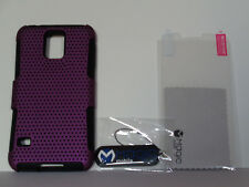 Samsung S5/i9600 Mesh Cell Phone Cover, Purple and Black with Screen Protector