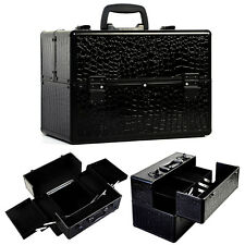 "Pro 14""x9""x10""Aluminum Makeup Train Case Jewelry Box Cosmetic Organizer Croc"