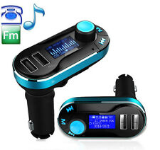 Car Music Player FM Transmitter Handsfree Car Charger Cigarette Lighter BLU