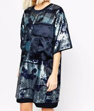 BRANDED Sequin Oversized Camo Utility/T-Shirt Dress in Navy UK 14/EU 42/US 10