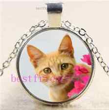 Kitten Cat With Flower Cabochon Glass Tibet Silver Chain Pendant Necklace#E132