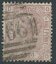 1875-80 GRAN BRETAGNA USATO EFFIGIE 2 1/2 P 56 NUMERO TAVOLA 5 - U2-3