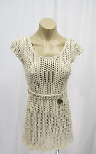 Elisabetta Franchi Beige Open Knit Dress w/ Cap Sleeve & Built in Gold Belt - 38
