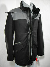 NAUTICA 3 in 1 Wool Parka Jacket Leather Trim w/Removable Liner Black/Gray sz M