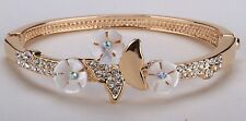 Girls Kids Butterfly w/ Flower Charm Bracelet Bangle Crystal GP Alloy BD20-4