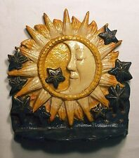 Sun, Sleeping Moon and Stars Cast Iron Doorstop, 8 1/4 Inches Tall