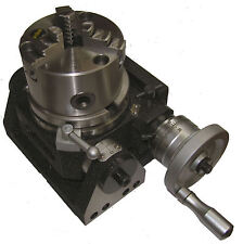 RDGTOOLS NEW 100MM TILTING ROTARY TABLE + 100MM 3 JAW LATHE CHUCK ENGINEERING