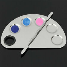 2Pcs/Set Stainless Steel Five-hole Palette Suit Mixing Spatula Palette Makeup