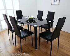 Lunar Rectangle Glass Dining Table Set and 6 Black Faux Leather Chairs Seats