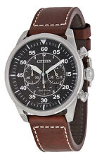Citizen CA4210-24E Men's Eco Drive Avion Brown Leather Band Chronograph Watch