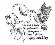 CREATIVE IMAGES CISTAMPS RUBBER STAMPS HAPPY BIRTHDAY HUMMINGBIRD STAMP