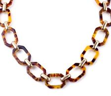 FAUX TORTOISE SHELL BROWN BLACK ANIMAL PRINT Chunky Acrylic Chain Link Necklace