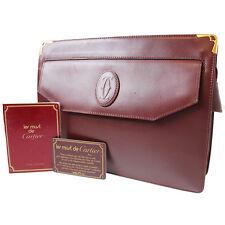Must de Cartier Logos Clutch Bag Bordeaux Leather Vintage Authentic #4694 M